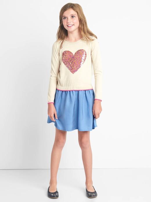 Kız Çocuk kırçıllı krem TENCEL™ pullu elbise