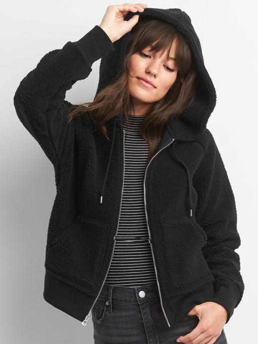 Siyah Bütünü sherpa polarlı fermaurlı sweatshirt