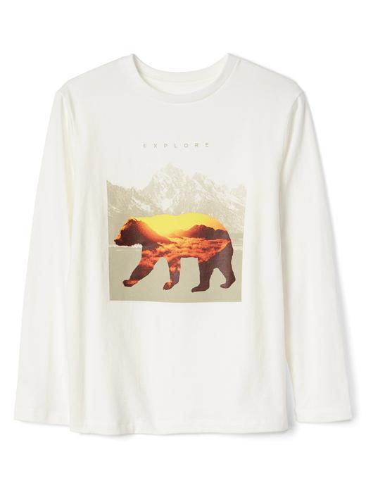 Erkek Çocuk kırık beyaz Grafik desenli uzun kollu t-shirt
