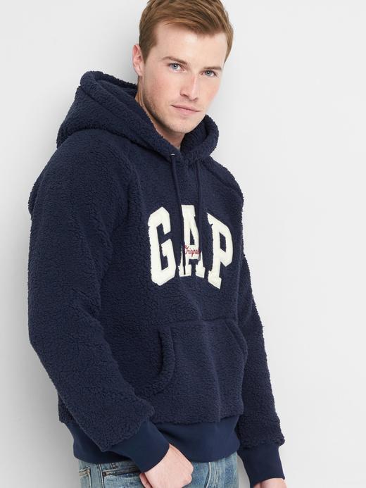 lacivert Sherpa logolu kapüşonlu sweatshirt