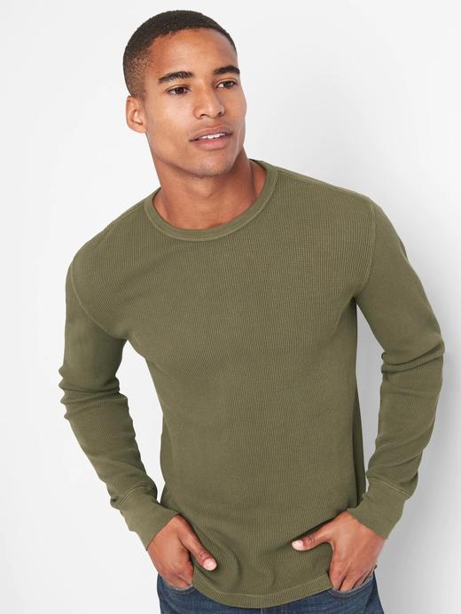 Erkek koyu yeşil Uzun kollu sıfır yaka t-shirt