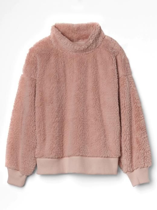 Kadın pembe Sherpa boğazlı sweatshirt