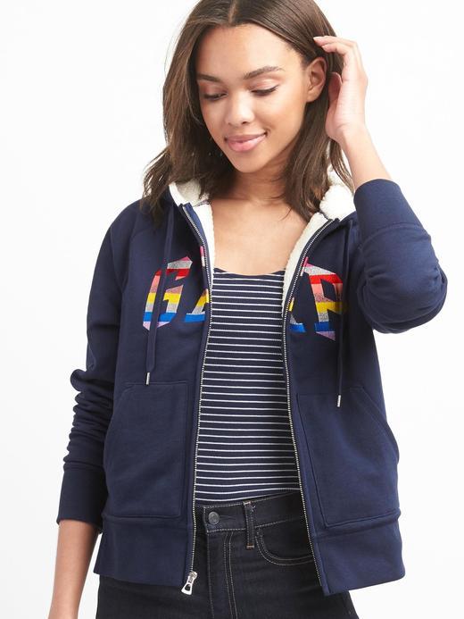 Logolu sherpa astarlı sweatshirt