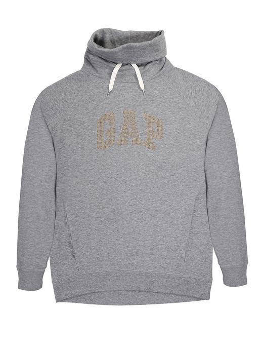 Logolu boğazlı uzun kollu sweatshirt