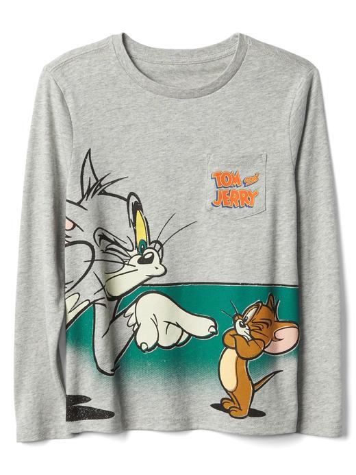 Erkek Çocuk gri GapKids Tom and Jerry uzun kollu t-shirt