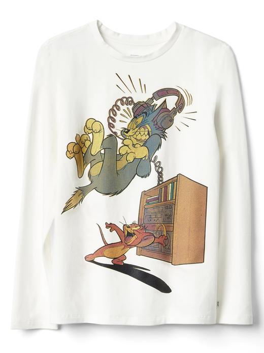 kırık beyaz GapKids Tom and Jerry uzun kollu t-shirt