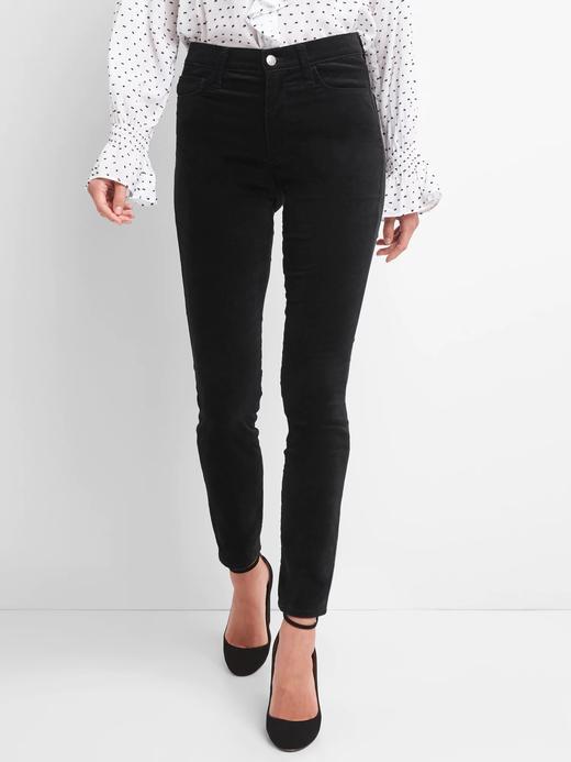 Kadın Siyah Orta Belli Kadife Skinny Pantolon