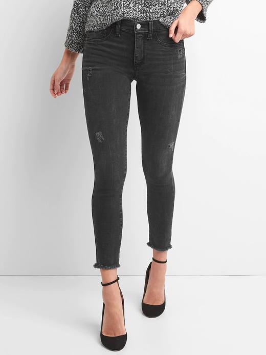 Orta belli eskitilmiş jegging pantolon