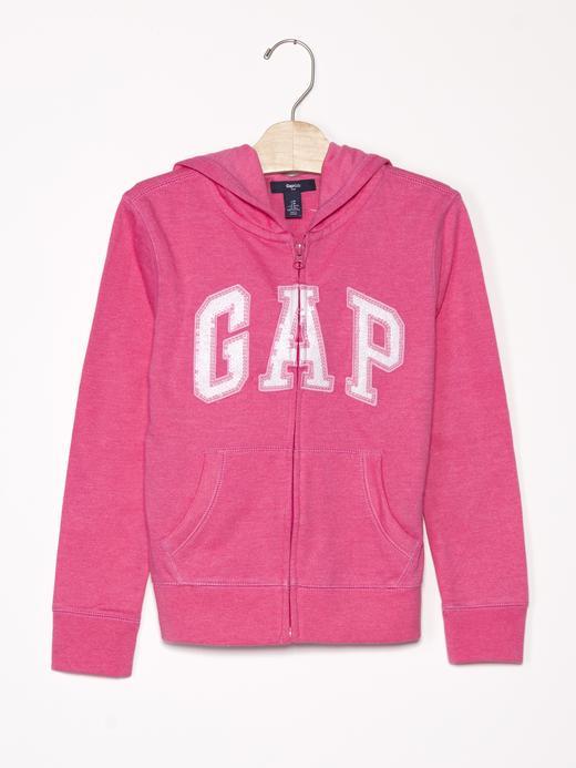 Kız Çocuk pembe Logolu pullu kapüşonlu sweatshirt