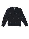 Desenli sıfır yaka polar sweatshirt