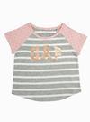 Logolu kısa kollu çizgili t-shirt
