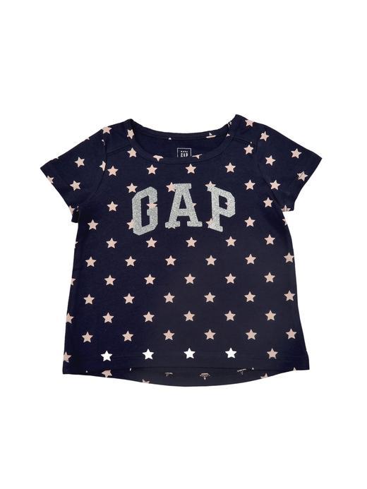 Logolu kısa kollu desenli t-shirt