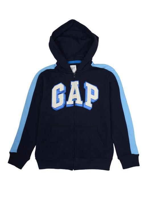 lacivert Logolu kapüşonlu sweatshirt