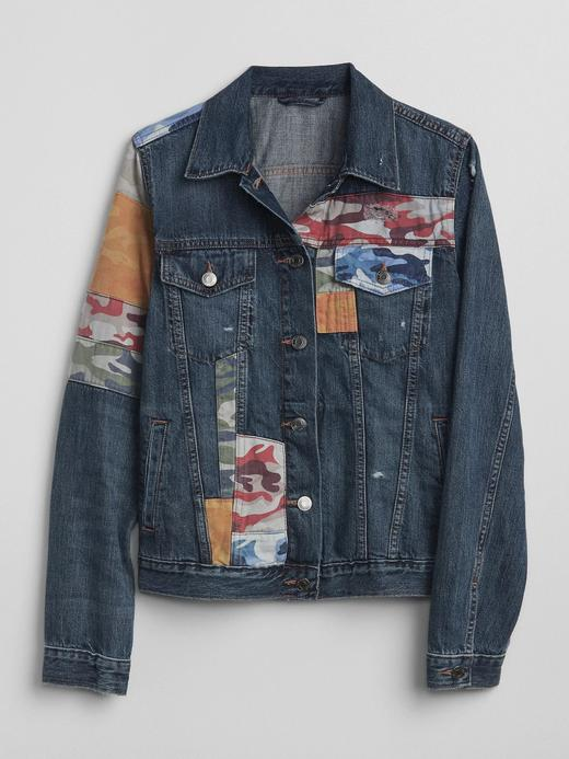 Kamuflaj desenli denim ceket