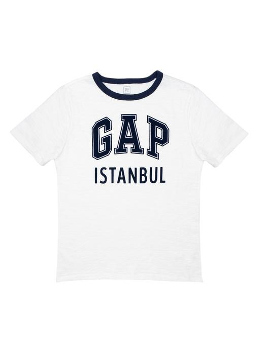 kırık beyaz Logolu İstanbul kısa kollu t-shirt