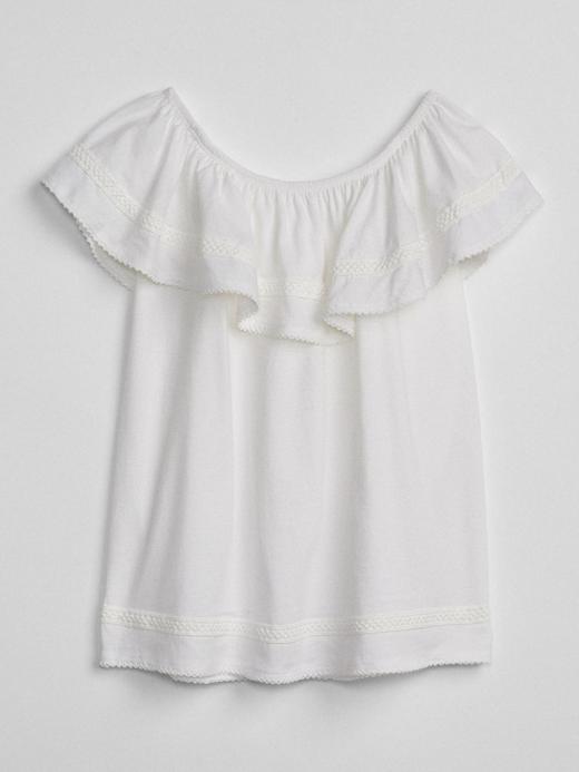 Kız Çocuk Beyaz Düşük omuzlu fırfırlı bluz