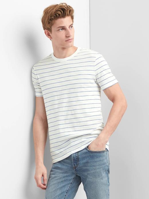 kırık beyaz Çizgili kısa kollu sıfır yaka t-shirt