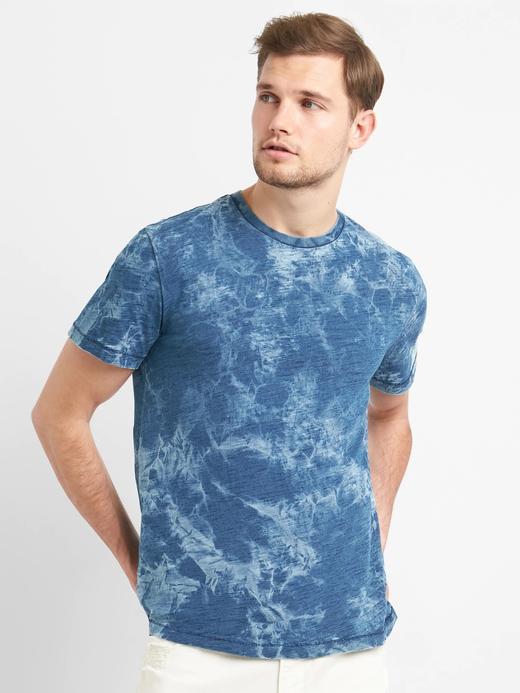 lacivert Indigo desenli sıfır yaka t-shirt