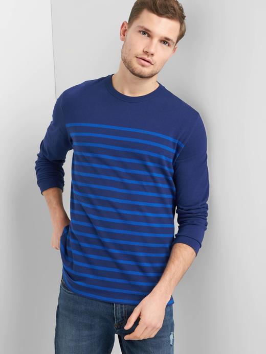 Çizgili uzun kollu sıfır yaka t-shirt