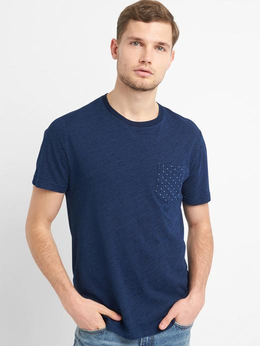 Koyu indigo Indigo desenli sıfır yaka t-shirt