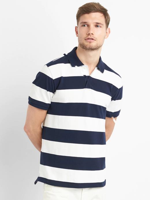 lacivert çizgili Çizgili streç pique polo t-shirt