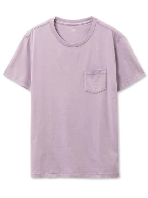 leylak Kısa kollu sıfır yaka cepli t-shirt