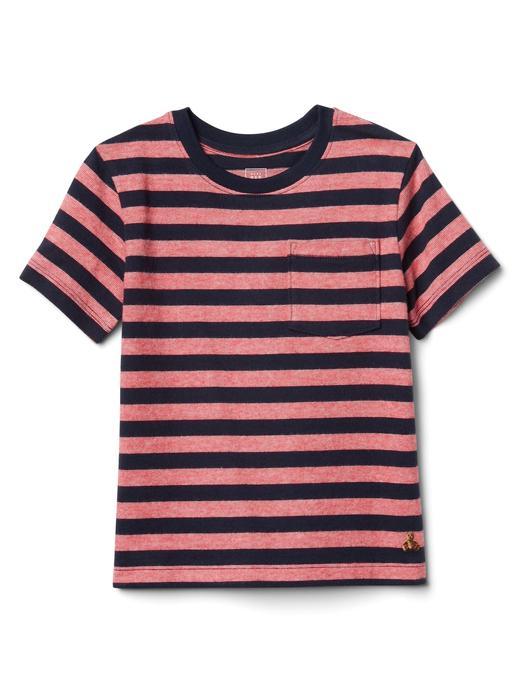 kırmızı Cepli çizgili kısa kollu t-shirt