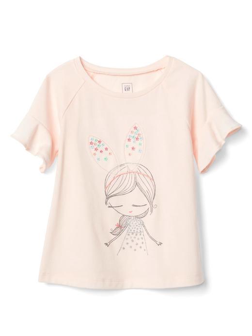 Bebek açık pembe Fırfırlı Baskılı T-Shirt