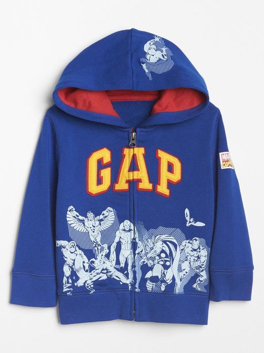 parlak mavi babyGap   Marvel© logolu kapüşonlu sweatshirt