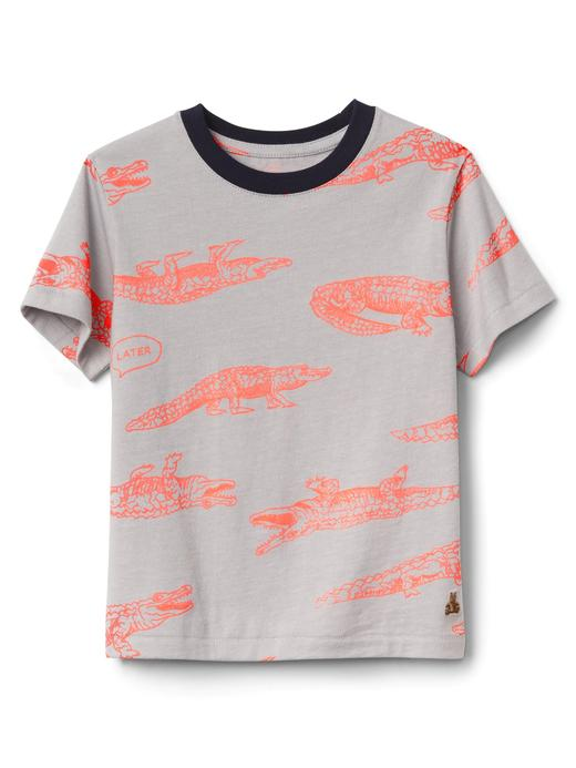 gümüş Desenli Kısa Kollu T-Shirt