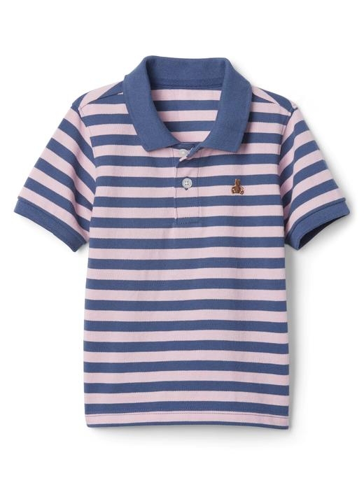pembe Çizgili polo t-shirt