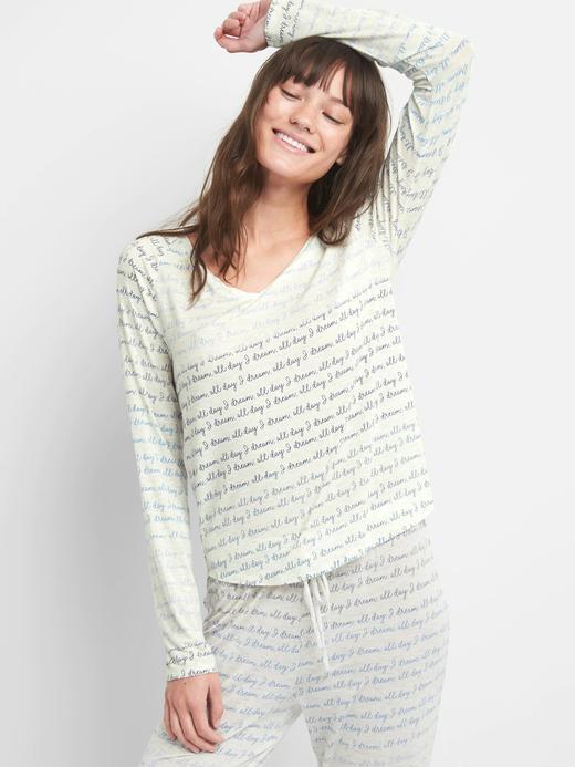 Modal karışımlı v yaka pijama üstü