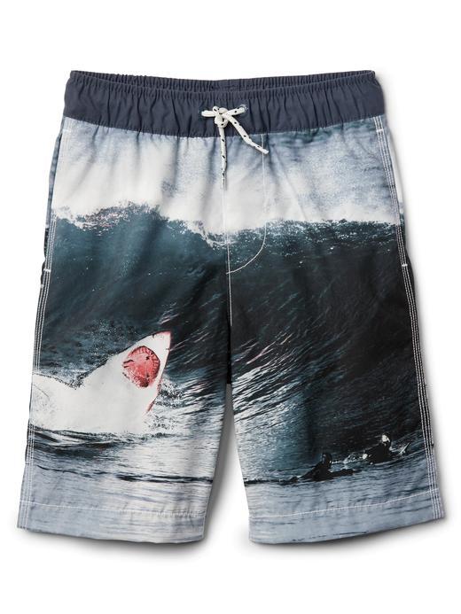 Erkek Çocuk kırık beyaz Köpek balığı desenli şort mayo