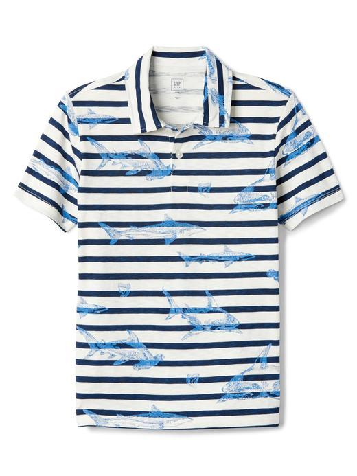 Erkek Çocuk kırık beyaz Çizgili desenli polo t-shirt