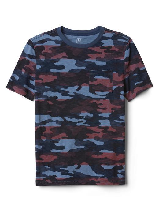 mavi Kamuflaj desenli sıfır yaka t-shirt