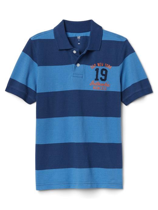 kırçıllı mavi Çizgili logolu polo t-shirt