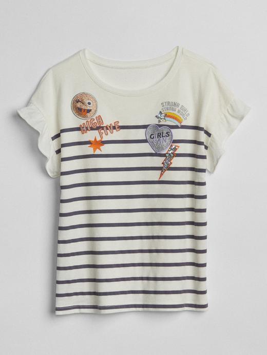 Kız Çocuk lacivert çizgili Çizgili fırfır kollu baskılı t-shirt