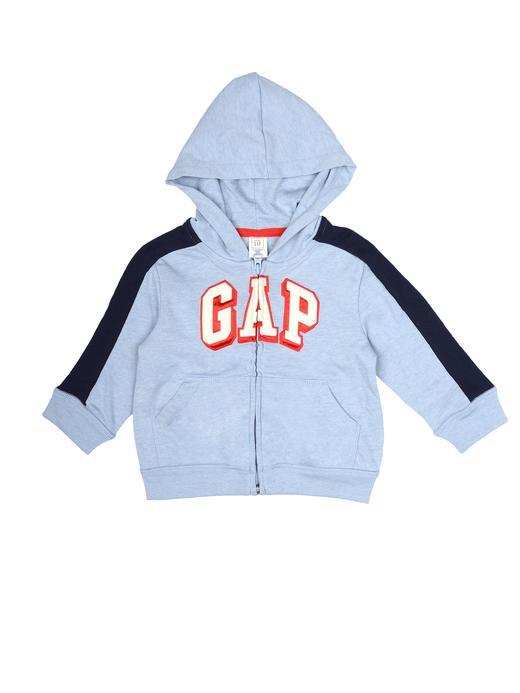 kırçıllı mavi Logolu kapüşonlu sweatshirt