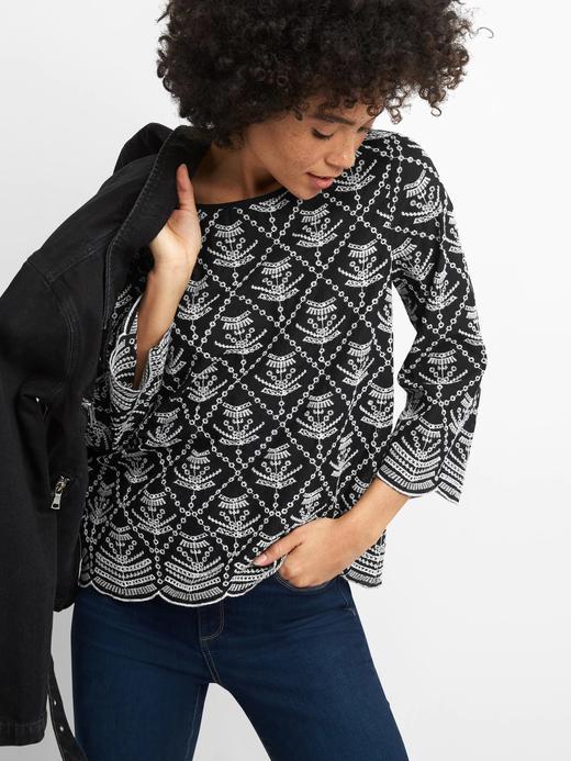 siyah beyaz İşlemeli Bluz