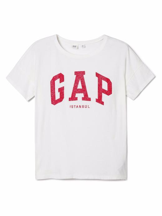 Kız Çocuk kırık beyaz Gap Logo kısa kollu t-shirt