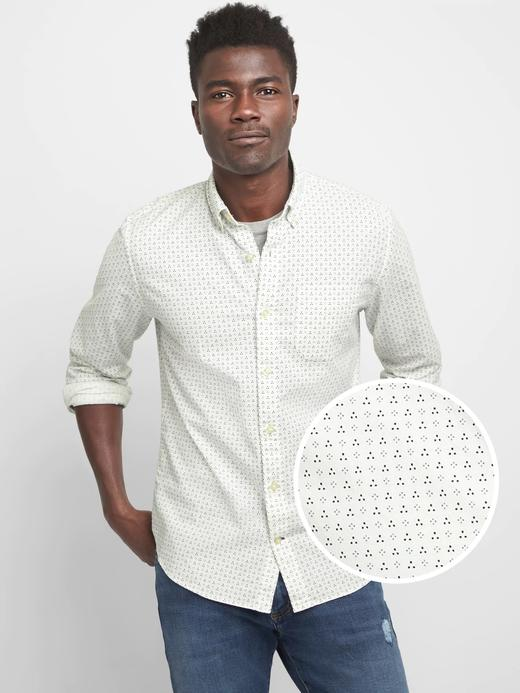 Erkek beyaz baskılı Desenli Oxford Gömlek