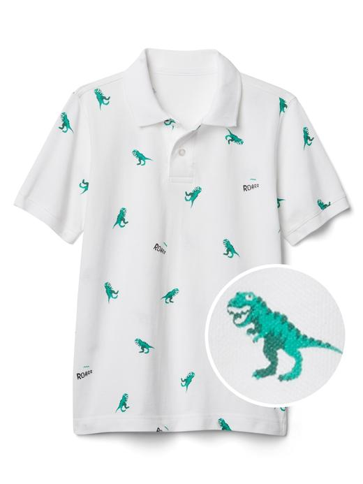 Dinozor desenli polo t-shirt