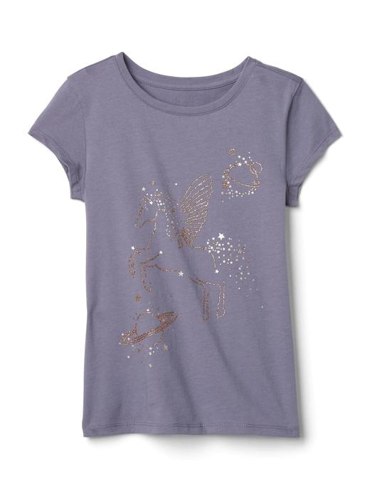 Grafik desenli pırıltılı t-shirt