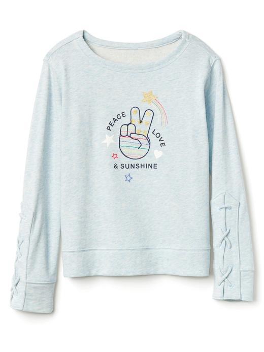 kırçıllı mavi Grafik desenli dantel detaylı sweatshirt