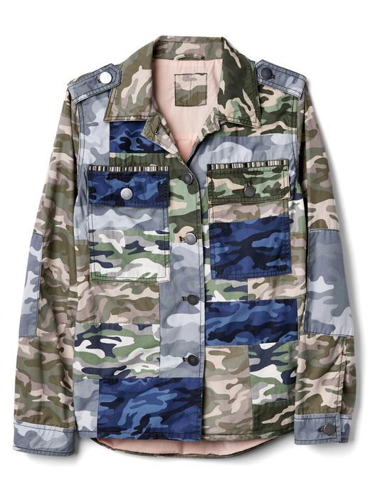 Kamuflaj desenli cepli ceket