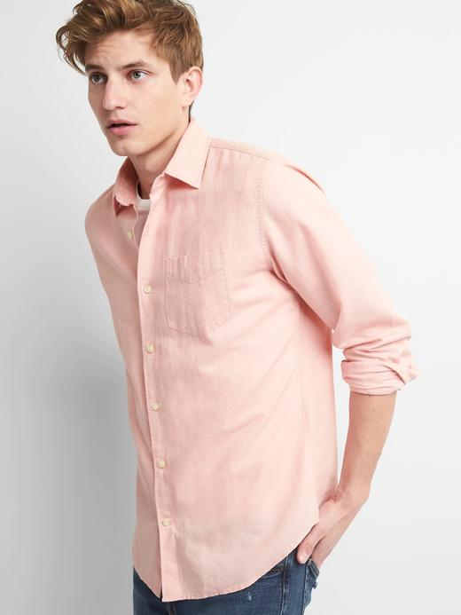 Erkek pembe Standart fit keten pamuk karışımlı gömlek