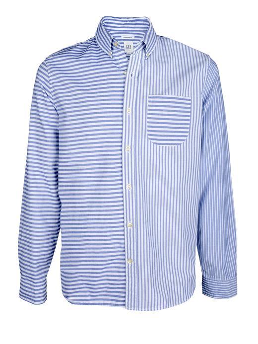 mavi çizgili Desenli Oxford Gömlek