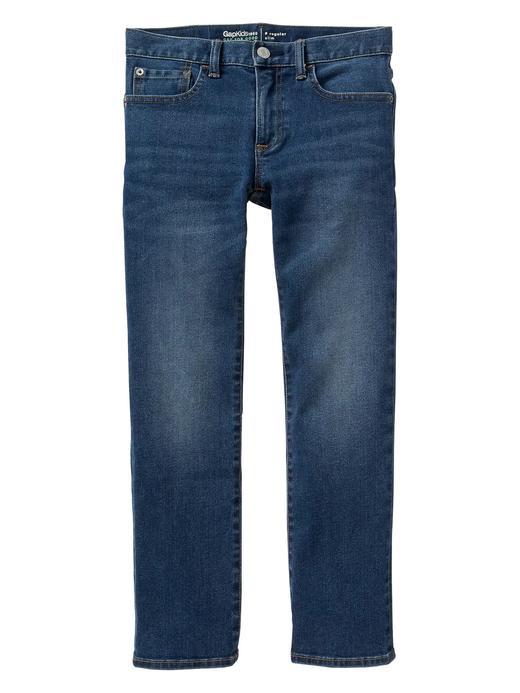 Slim orta mavi yıkamalı jean pantolon
