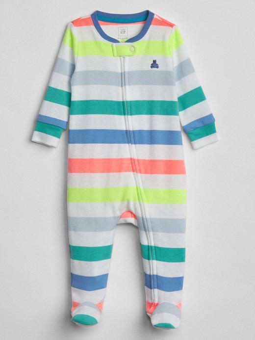 Bebek çok renkli çizgili Desenli uzun kollu tulum