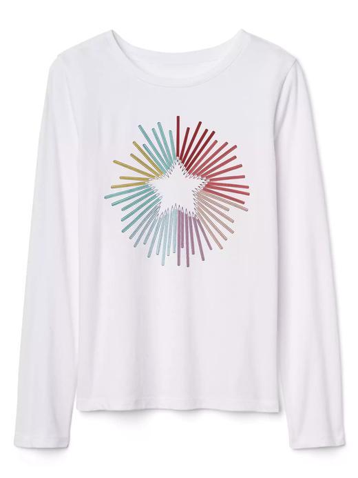 Uzun kollu grafik desenli t-shirt